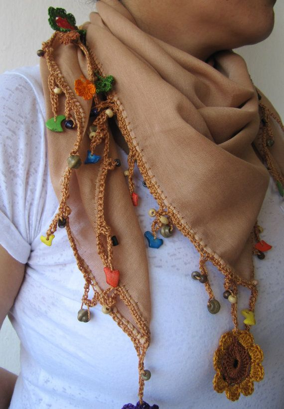 Tobacco brown scarf made by bead and lace by SEVILSBAZAAR on Etsy
