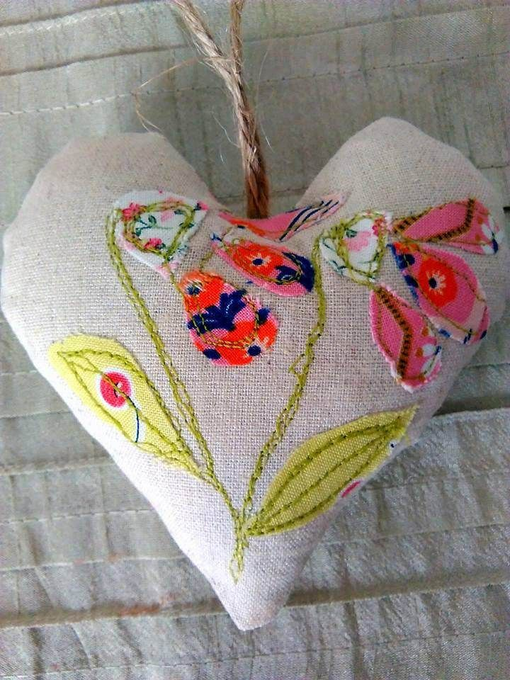 Appliqued heart decoration, flower applique, free motion embroidery heart. by KitchenFairiesLeeds on Etsy