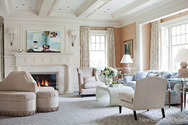 Ceiling moulding. Depth. Custom. >>A circular tête-a-tête is an organizing element for the living room's seating arrangements. Sacred Fig by Jennifer Amadeo-Holl hangs above the mantel.