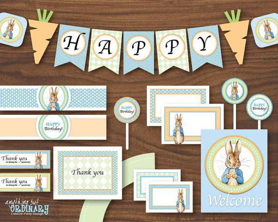 Peter Rabbit Boys Birthday Decorations, INSTANT DOWNLOAD, DIY Printable Party Package, digital file