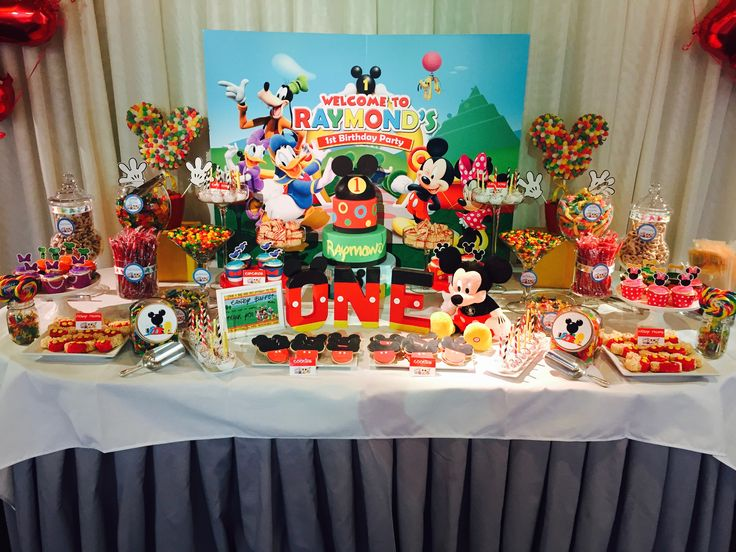 birthday candy party candy candy table mickey mouse