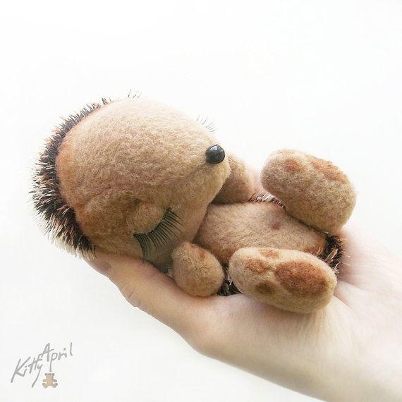 Hedgehog Miniature Woodland Sleepy Friend  by KittyAprilHandmade