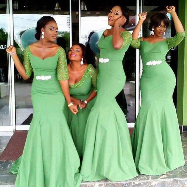 >> Click to Buy << African 2016 CheapVestido Longo Mermaid Bridesmaid Dresses Long Green Satin Half Sleeves Beads Wedding Party Dresses  #Affiliate