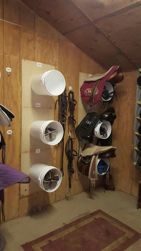 Bucket saddle and storage racks