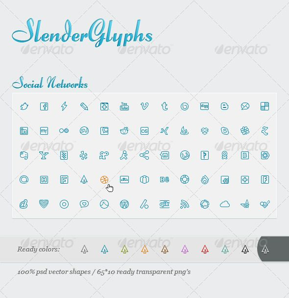 Slender Glyphs: Social Network Icon Set — Photoshop PSD #utorrent #dribbble • Available here → https://graphicriver.net/item/slender-glyphs-social-network-icon-set/704547?ref=pxcr