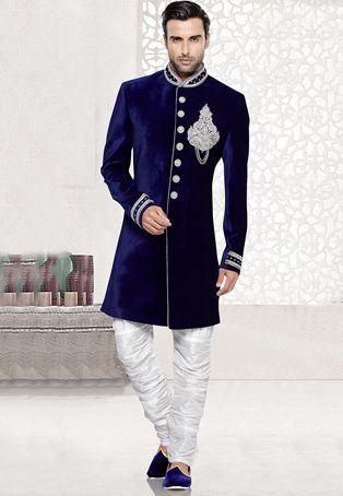 Zardosi Embroidered Velvet Sherwani in Royal Blue