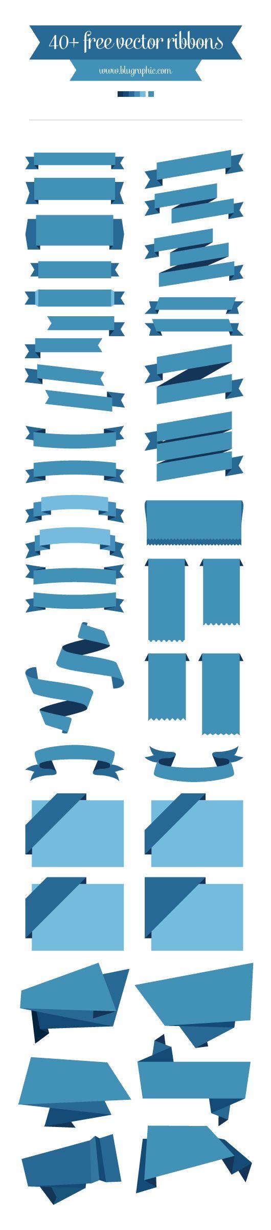 40+ Free Vector Ribbons!   #design