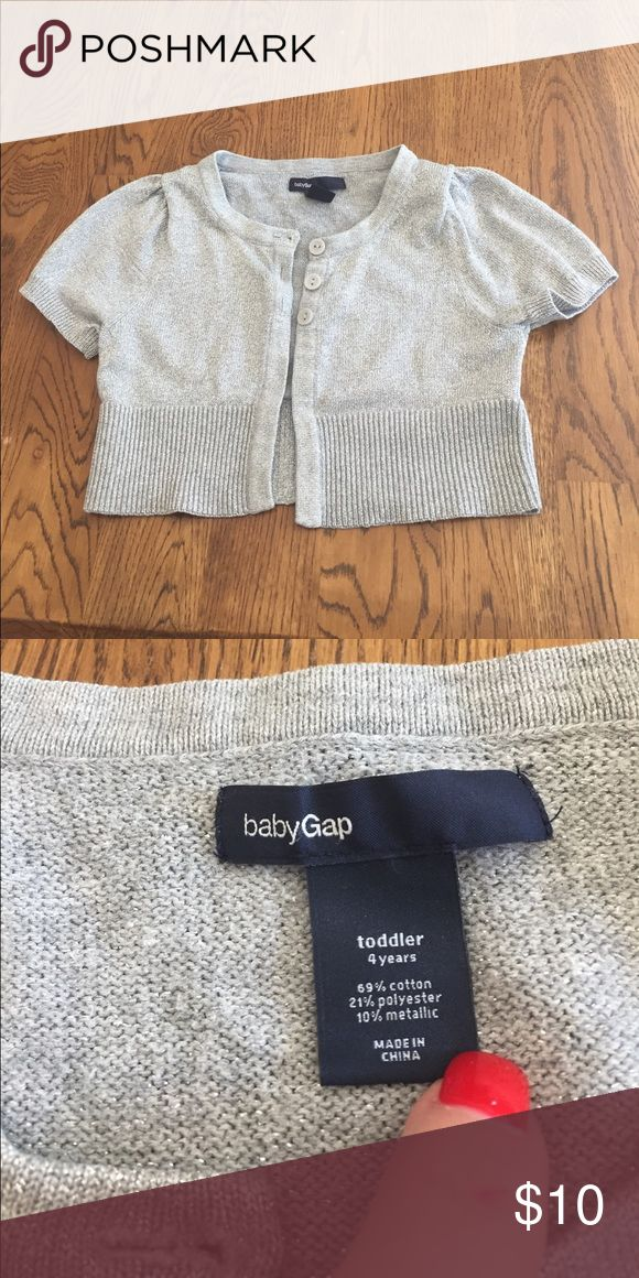 Silver Short Sleeve Shrug 69% cotton 21% polyester 10% metallic. JR Baby Gap Shirts & Tops Sweaters