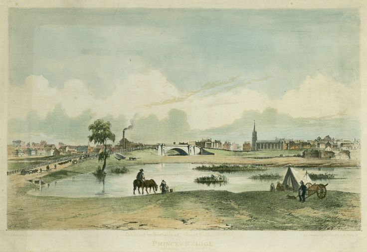 St Paul's Church (later Cathedral) can be seen next to the second Princes Bridge, built across the Yarra River, Melbourne, Victoria, Australia in 1850 and replaced with the current bridge in 1888.