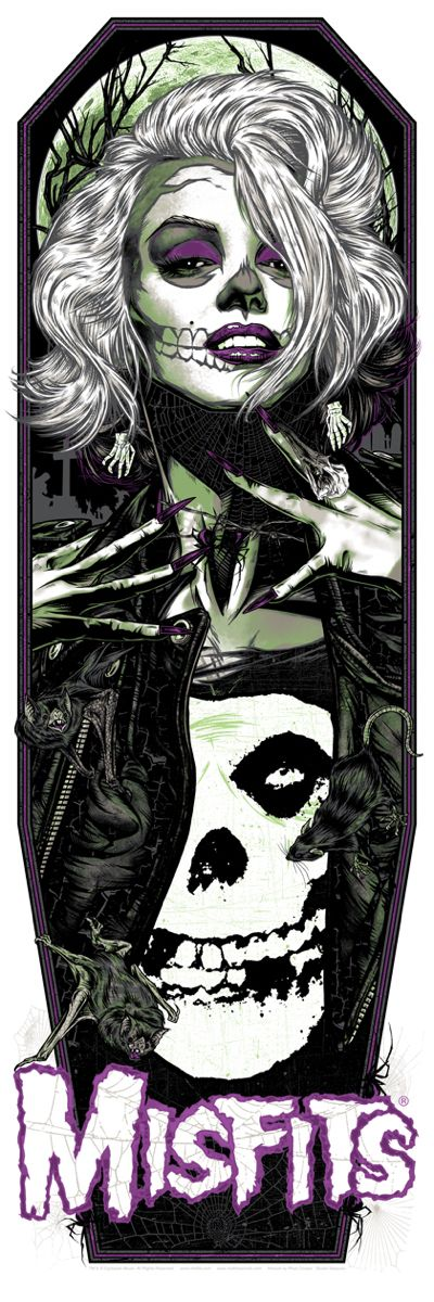 Misfits poster by Rhys Cooper. 12″ x 36″ screenprint, has an edition of 138. The variant has an edition of 77.