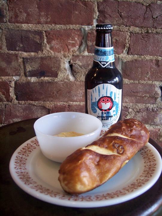 Beer and a pretzel at Foam.