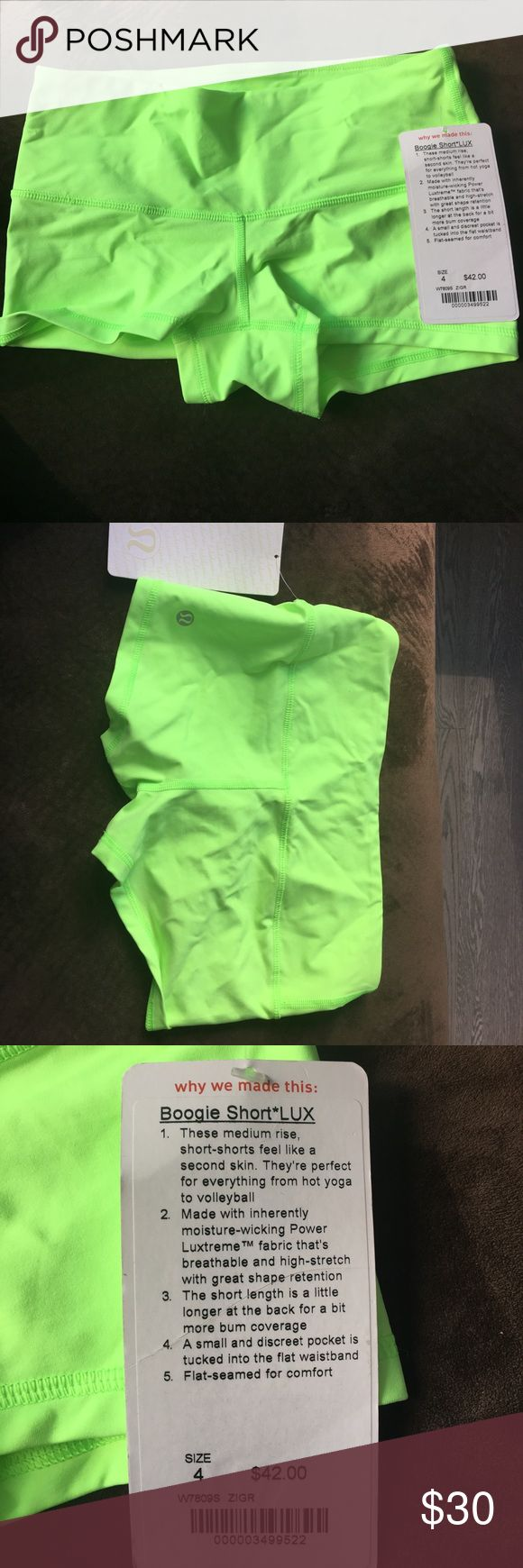 Lulu lemon workout shorts. Boogie shorts Lime green medium rise shorts lululemon athletica Shorts Skorts