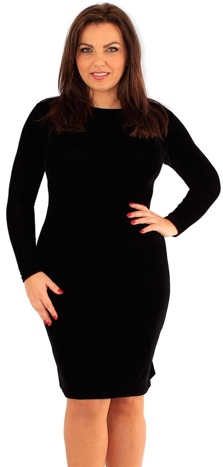 New Womens Plus Size Velvet Long Sleeve Bodycon Midi Dress 18-24