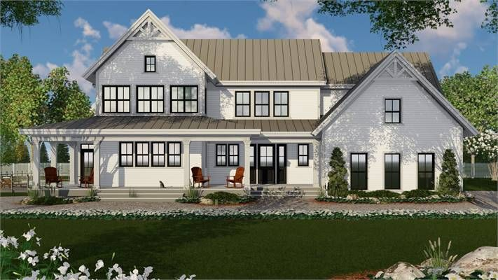 Modern Two Story Farmhouse Plan With Four Bedrooms Modern Farmhouse Plans Farmhouse Plans New House Plans
