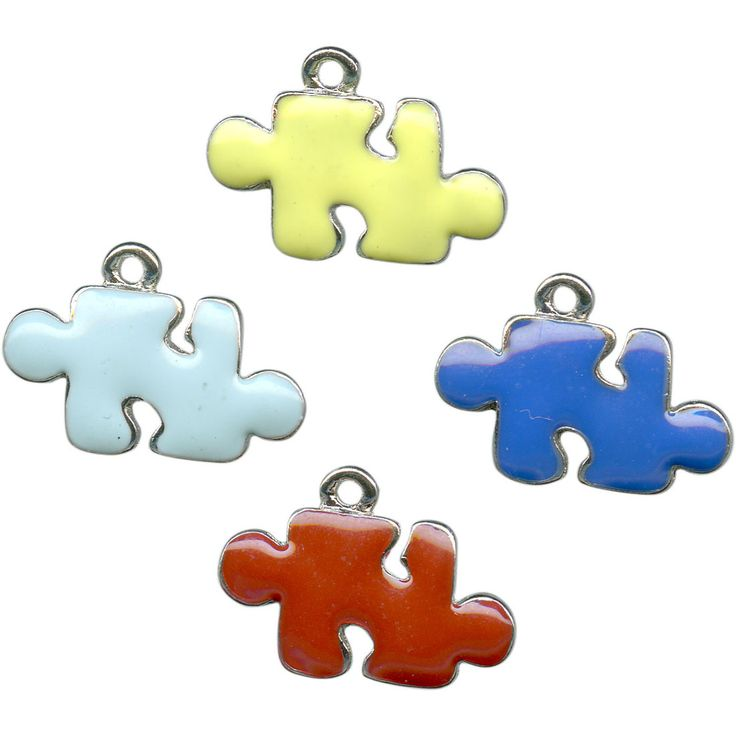 Multi-color/ Antiqued Pewter Charm, Cast, Puzzle, Enameled (Clearance)