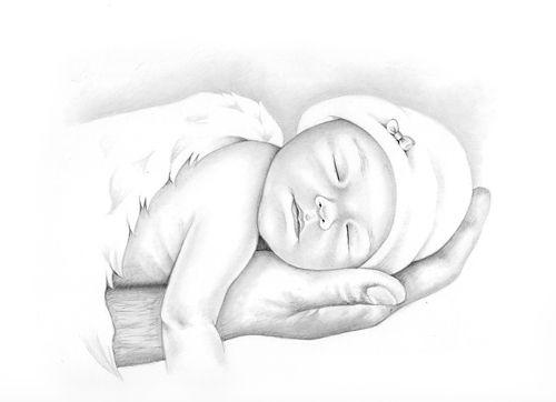 Infant loss angel pencil portraits