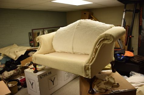 Step-by-step break down on how to reupholster a settee! LOTS of pictures and good advice!