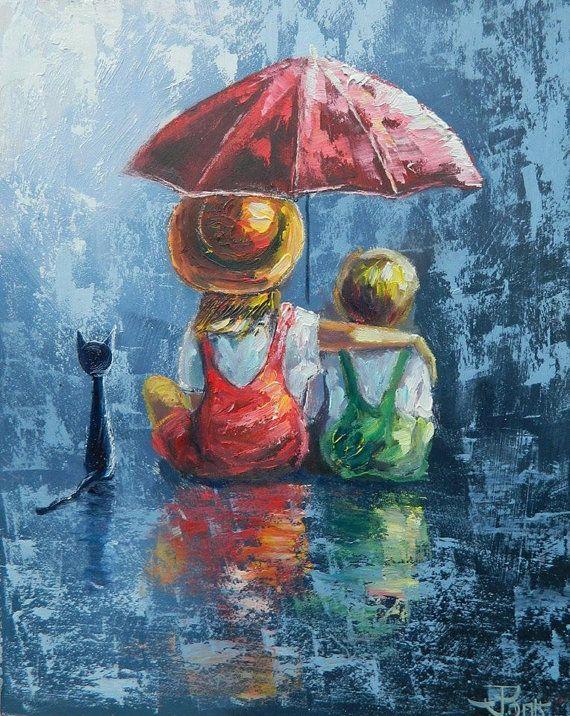 Nimm mich unter einen Regenschirm. Kreuzstichmuste…