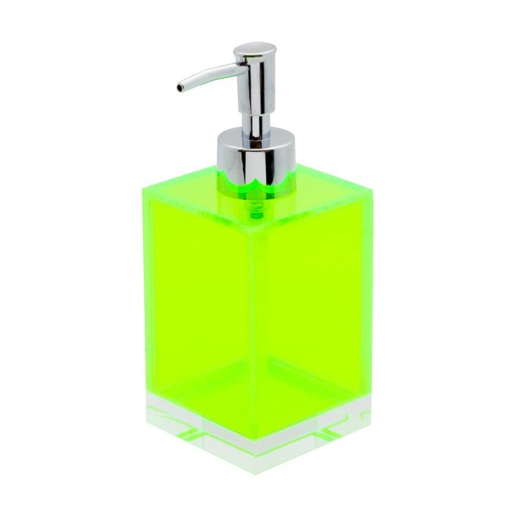 Lund London Transparent Acrylic Soap Dispenser with Neon Green Base Add a splash of colour to your bathroom or kitchen with this bright neon pink soap dispenser made from transparent acrylic with bright green base. Choose how you accessorise your bathroom with toothbrush holders, soap dishes and storage pots all in a choice of three neon colours perfect for a beautifully bright display. Product Dimensions: 7 x 7 x 17cm
