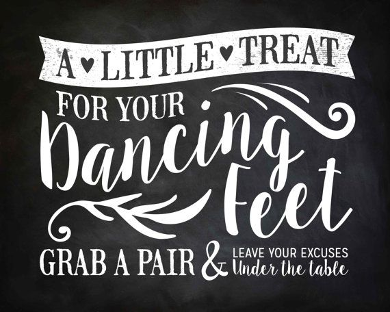 Wedding DANCING FEET Sign 8 x 10 Chalkboard by SangriaStudios