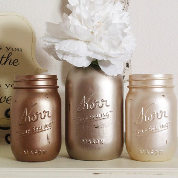 Wha beautiful mason. I think the pearl one was painted with krylon brushed metal in champange. Looks like i'll have a good time with that paint. 3- Hand Painted Mason Jars Flower Vases-Metallic Colllection One-Country Decor-Cottage Chic-Shabby Chic-French Chic