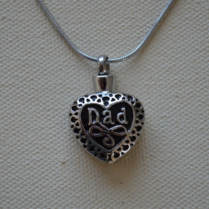 Our Dad Heart cremation necklace, the loss of your father is not easy. This pendant necklace is a unique way to memorialize your father and keep him always near your heart.