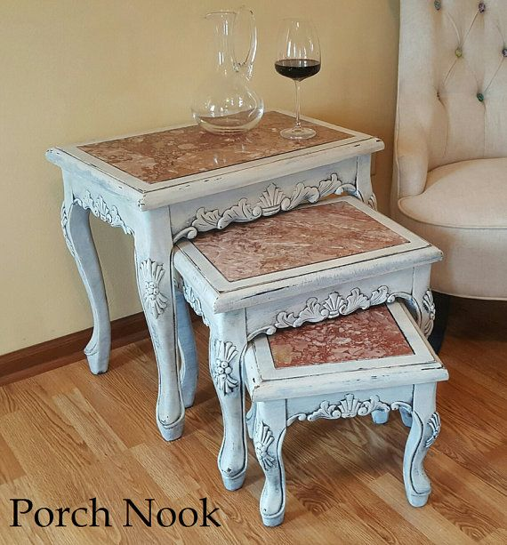 Vintage French Nesting Tables w/ Italian Pink Marble by PorchNook