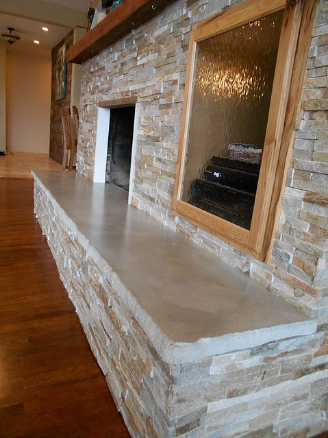 Concrete Slab Hearth Fireplace Remodel