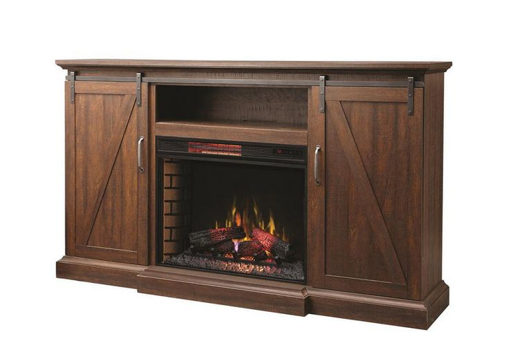 Home Decorators Collection Chestnut Hill 68 in TV Stand Electric Fireplace with Sliding Barn Door in Rustic Brown  Provides up to 5,200 BTUs of heat Sliding barn doors offer casual style Provides ample storage for your electronic components  $499.99 /each