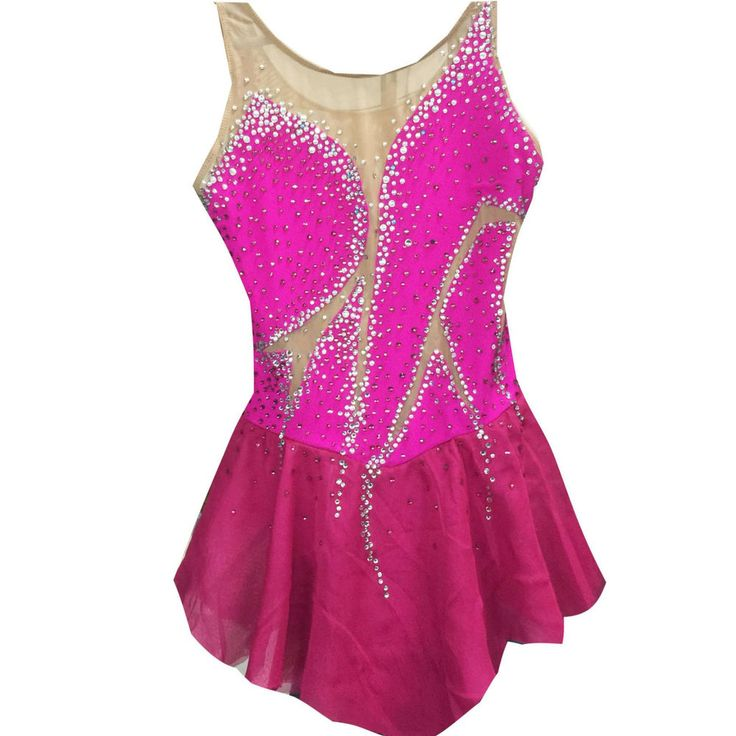 girls ice skating dress pink custom figure skating dress competition dresses  #yike