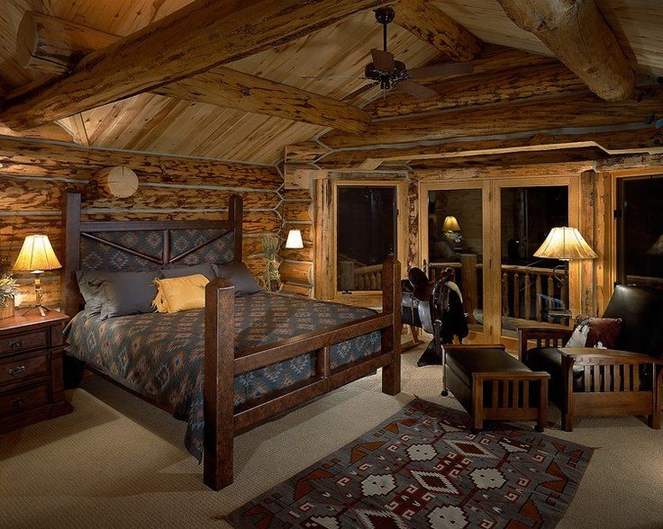 nice log cabin bedroom