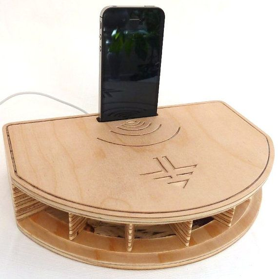 iPhone Acoustic Speaker Phone Stand with by ACSwoodenforms on Etsy