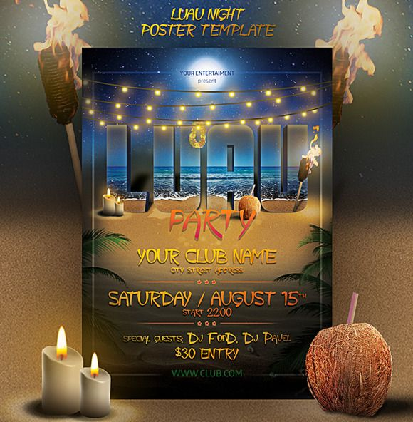 Luau Night Poster Template by FonDrakes on @creativemarket