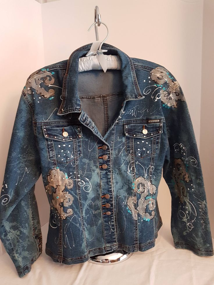 Vintage Women's / Girl's, Denim Hand Painted & Embellished, BoHo Bohemian Bleached Jean Jacket, Scolls, Rhinestones-Small-Med by FabBoho on Etsy