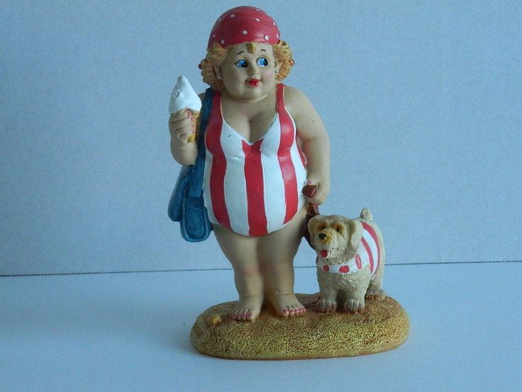 #Seaside fat lady in costume with dog  bathroom ornament #nautical #postcard,  View more on the LINK: 	http://www.zeppy.io/product/gb/2/291370710441/
