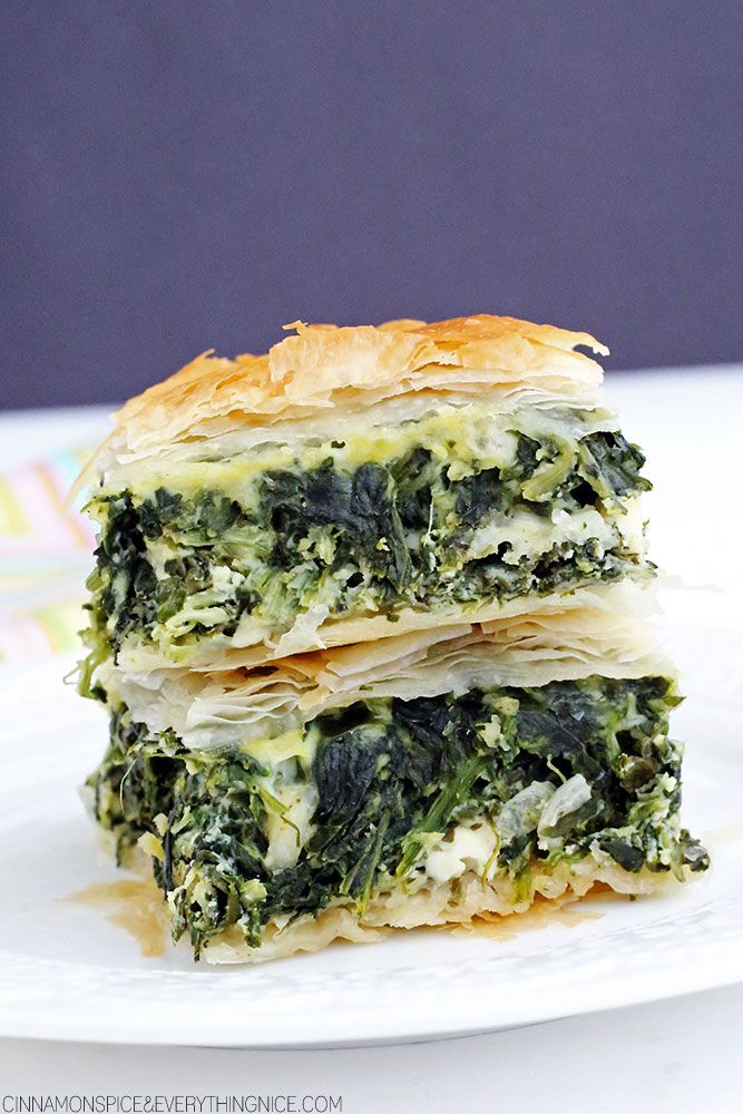 Greek Spinach Pie (Spanakopita ) ~ a classic Greek fave...spinach, feta and ricotta cheese trapped between crispy, flaky layers of golden phyllo dough.