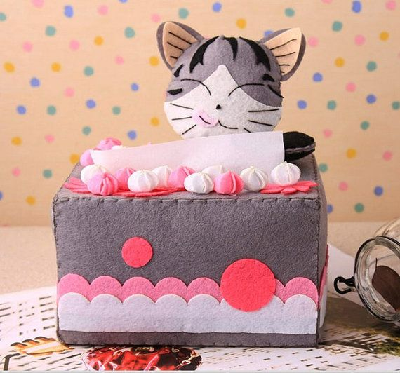 Chi's Sweet Home Cute cat Tissue box cover Die Cut Non-Woven Fabric Japanese DIY felt Project Craft Kit Pattern & Supplies