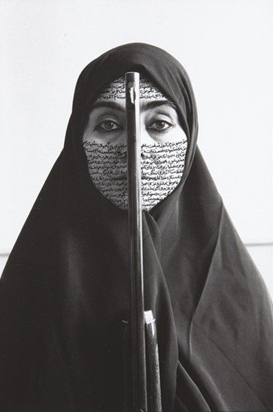 """Rebellious Silence"" Shirin Neshat, 1994. (photo taken by C. Preston). Neshat is an Iranian visual artist living in New York, whose work deals primarily with issues of identity and sexuality for Muslim women."