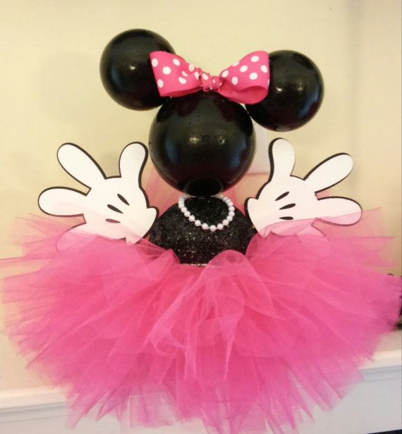 Hot Pink Minnie Centerpiece por IndigoBloomsCo en Etsy