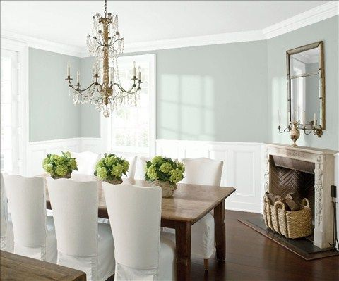 Look at the paint color combination I created with Benjamin Moore. Via @benjamin_moore. Wall: Quiet Moments 1563; Trim & Wainscot: Distant Gray 2124-70; Ceiling: Distant Gray 2124-70.