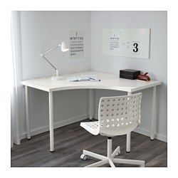 IKEA - LINNMON / ADILS, Corner table, white, , Pre-drilled holes for five legs for easy assembly.Adjustable feet allow you to level the table on uneven floors.