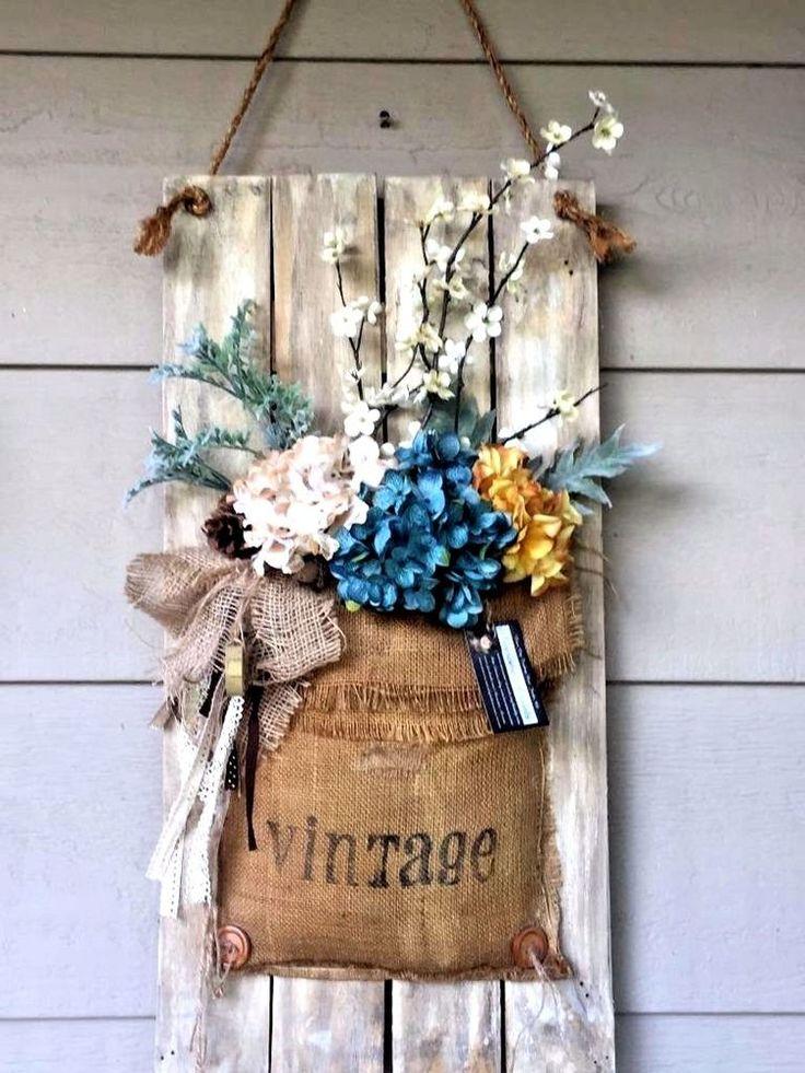 Front Porch decor Wall hanging Floral arrangement Vintage Burlap on picket fence #handmade