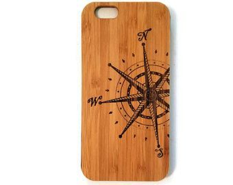 Compass Rose bamboo wood iPhone case for iPhone 6, iPhone 6s, iPhone 6 plus, iPhone 7, iPhone 7 plus, iPhone 8, iPhone 8 plus, iPhone X