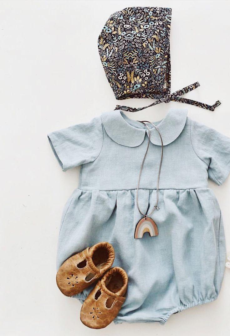 de566970a Handmade Linen Baby Romper With Peter Pan Collar ...