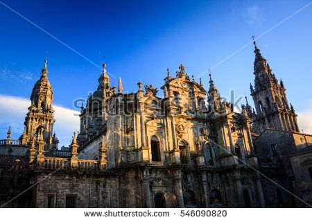 The Cathedral of Santiago de Compostela with the relics of Saint James the Great. apostle, blue, building, cathedral, catholic, christian, church, europe, galicia, james, landmark, medieval, religion, santiago de compostela, sky, spain, spire, tower, tradition, travel