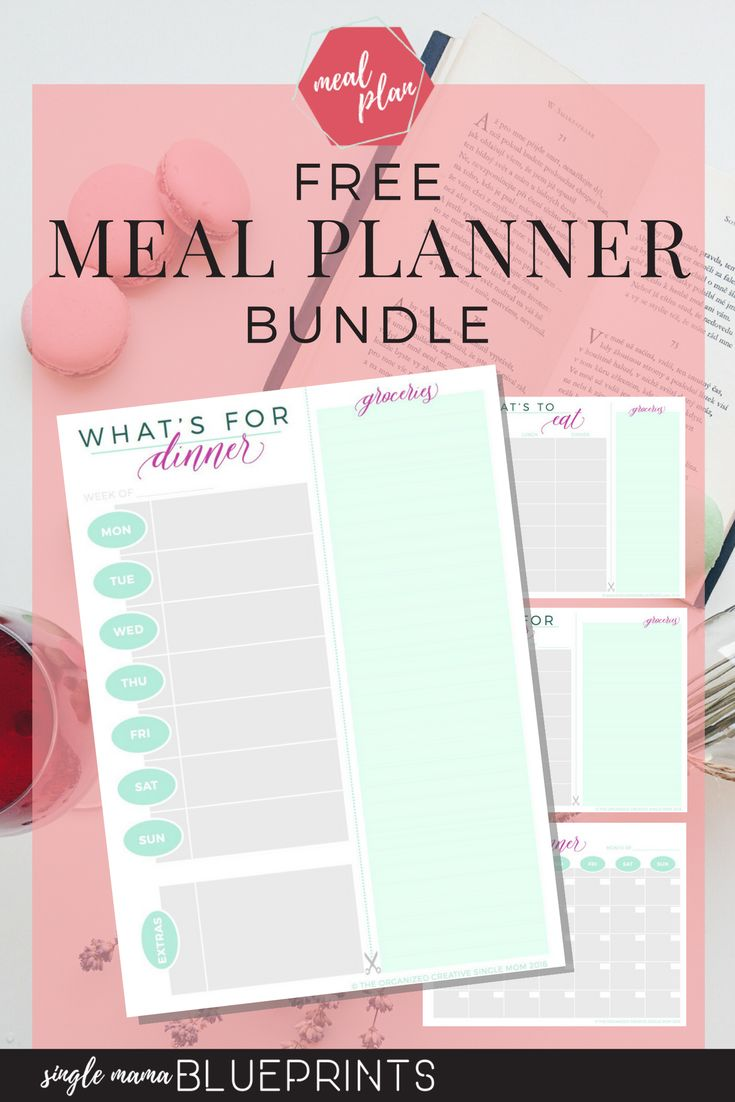 Free Meal Planner Bundle! For your Weekly, Bi-weekly, Monthly meal plans. Grocery List | Organize | Meal Plan | Printables | Dinner | Download