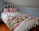 farmhouse quilt queen size colorful and by chasinglightningbugs. $400.00, via chasinglightningbugs shop at Etsy.
