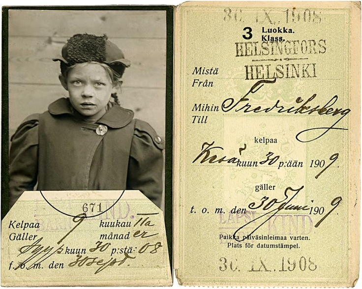 Train ticket to Fredriksberg (the old Swedish name for Pasila) from Helsinki to attend primary school.