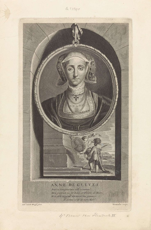 Cornelis Martinus Vermeulen   Portret van Anna van Kleef, koningin van Engeland, Cornelis Martinus Vermeulen, 1697   Portret van Anna van Kleef, koningin van Engeland. Onder het portret twee putti die een tweede ovaal met haar portret vasthouden.