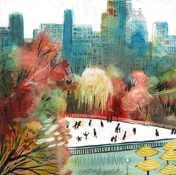 Wollman Rink Central Park New York City art by MisplacedMeadowlark, $25.00
